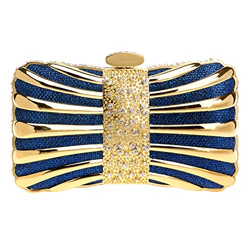 Cocktail Hard Case For Women Wedding Party Frame Blue Strap Metal Chain Evening Clutch Handbag With wIBC7