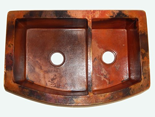- Rounded Apron Front Farmhouse Kitchen Double Bowl Mexican Copper Sink 60/40 33X22 Inches Natural Patina