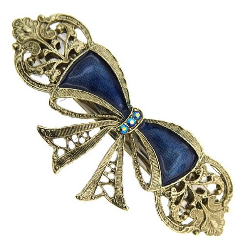 Price comparison product image Gold-Tone Light Sapphire Crystal AB and Blue Enamel Bow Barrette