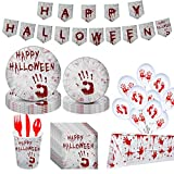 181PCS Halloween Party Supplies, Formemory Halloween Disposable Tableware with Halloween Party Plates Cups Napkins Tablecloth Baloons More Serves 24 for Halloween Party Decor Supplies