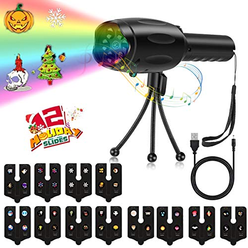 Eurobuy Christmas Projector Light with Music,Portable Projector for Halloween,8 Melodies Dynamic Pattern Flashlight,12 Slides Projection,2-in-1 Tripod Atmosphere,for Holiday Birthday -