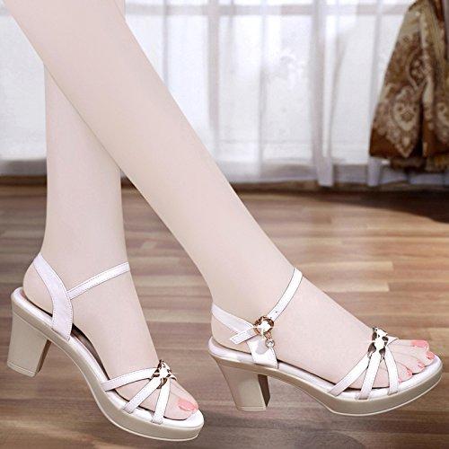 white e Tacchi sandali open tacchi con toe alti da in pelle alti donna YMFIE OBxS0dqq