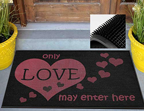 Heart Source Love Welcome Mat - High-Functioning Durable Doormat - Recycled Water Bottles - Dirt & Snow Trapping Entry Mat for Outside Front Door - Super Easy to Clean-18x27.5 in. (Love Print)