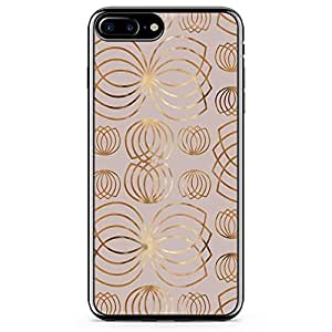 iPhone 8 Plus Transparent Edge Phone case Beige Phone Case Linear Style Thick Gold iPhone 8 Plus Cover with Transparent Frame