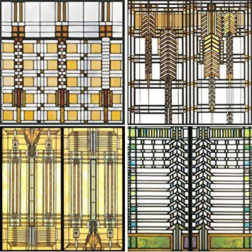 CoasterStone AS2745 Absorbent Coasters, Frank Lloyd Wright Art Glass Design Coasters, Set of 4 ()