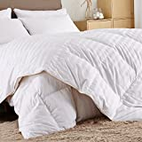 Puredown Comforter Goose Down Comforter-600 Fill Power Cotton Shell 500TC-Stripe White, Full/Queen