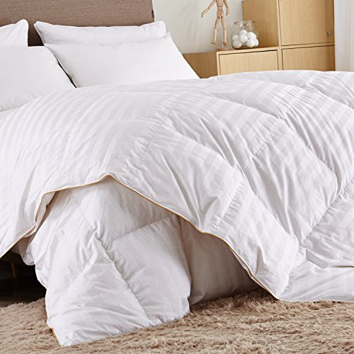 Puredown White Goose Down Comforter-600 Fill Power-Full/Queen- Cotton Shell 500TC-Stripe...