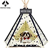 Yongs Pet Cat Dog Tent Bed Portable Puppy Kitten Teepee House with Cushion, Blackboard, Beige Navy Star Pattern Review