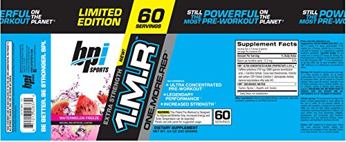 BPI Sports 1MR, One More Rep Ultra-Concentrated Pre-Workout Powder, Watermelon, 60 servings, 8.5 oz