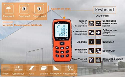 393ft Laser Measure - LOMVUM Laser Distance Measure with Non Mute Function Large LCD Backlight Display Measure Distance,Area and Volume,Pythagorean Mode Battery Included by Lomvum (Image #1)