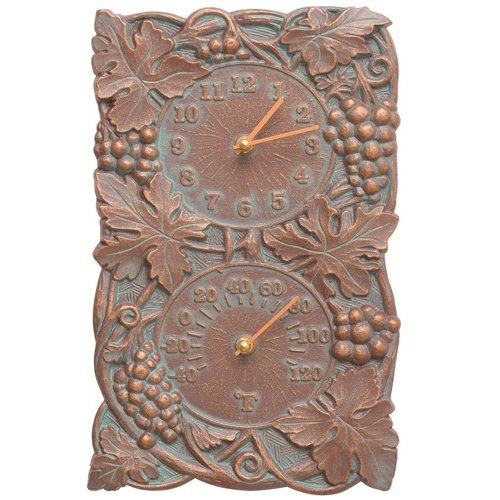 - Whitehall Products Grapevine Combo Clock, Copper Verdi