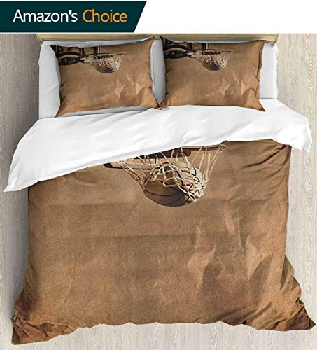 - shirlyhome Basketball Duvet Covers Textured,Box Stitched,Soft,Breathable,Hypoallergenic,Fade Resistant 100% Cotton Beding Linens for Kids Children(104