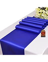 Parfair Dessin Satin Table Runners 12 X 108 Inch For Wedding Banquet  Decoration, Bright Silk And Smooth Fabric Party Table Runner   Royal Blue