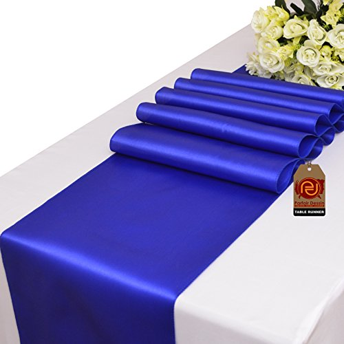 Parfair Dessin Pack of 10 Satin Table Runners 12 x 108 inch Wedding Banquet Decoration, Bright Silk Smooth Fabric Party Table Runner - Royal ()