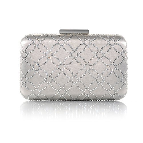 Crystal Handbags Hard Womens Silk Clutch and Large DMIX Evening Silver Bag Satin nxTqWYYv
