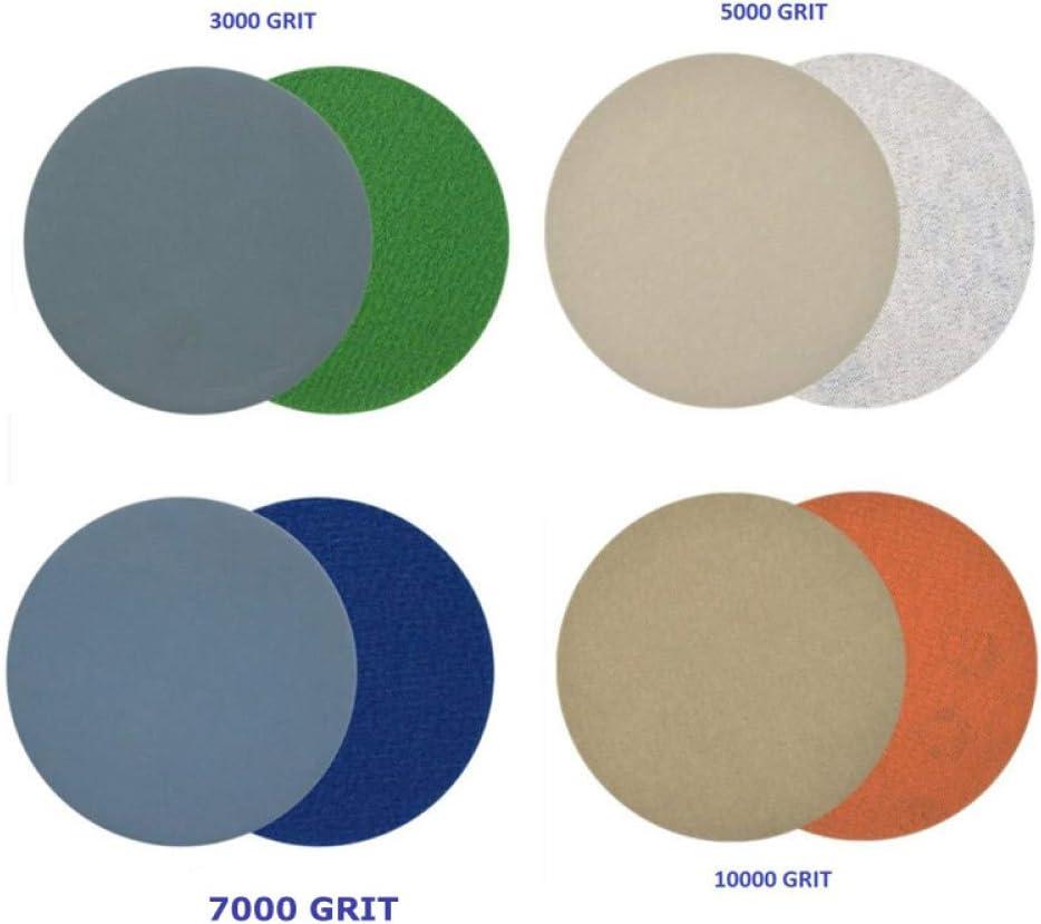 WFE/&QFN Papel de lija 20pcs Gancho y bucle 3 pulgadas 3000//5000//7000//10000 Granos Papel de lija Impermeable Discos de lijado en h/úmedo//seco