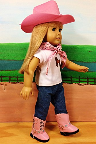 WESTERN COWGIRL COWBOY OUTFIT Pink ~ 18 Inch Doll Clothes For American Girl HAT, PINK BOOTS, JEANS, BANDANNA, HORSE TOP !! COMPLETE SET! for $<!--$24.95-->