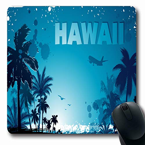 (Ahawoso Mousepad Oblong 7.9x9.8 Inches Sea Green Beach Summer Tropical Hawaiian Nature Scroll Red Tree Flower Palm Coconut Ocean Design Office Computer Laptop Notebook Mouse Pad,Non-Slip Rubber)