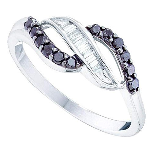 Black Diamond Right Hand Ring Solid 14k White Gold Cocktail Band Fashion Crossover Style Curve 1/3 (Diamond Flower Right Hand Ring)