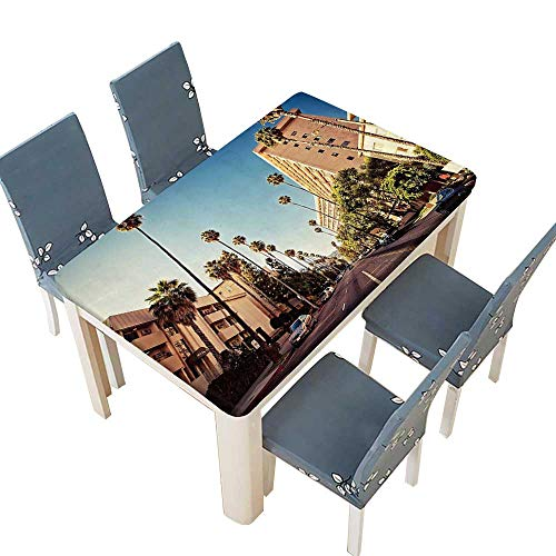 (PINAFORE Tablecloth Street in Beverly Hills California Palm Trees Houses Famous City Photo Light Blue Table Top Cover W57 x L96.5 INCH (Elastic Edge))