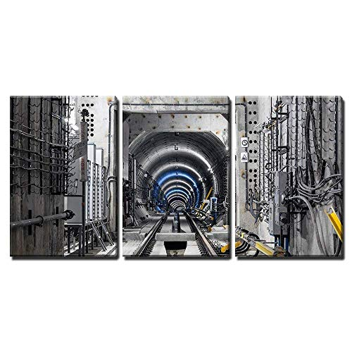 wall26 - 3 Piece Canvas Wall Art - Construction of The Subway Tunnel in Moscow - Modern Home Decor Stretched and Framed Ready to Hang - 24
