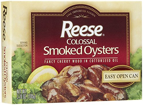 (Reese Colossal Smoked Oysters in Cottonseed Oil, 3.70 Ounce (2 Pack) Fancy Gourmet Canned Cherry Wood Oysters, Easy Open Can)