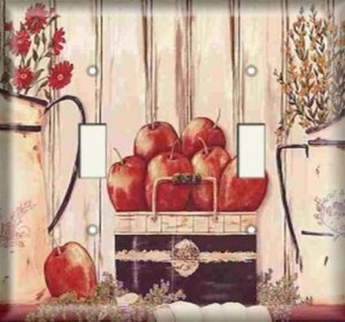 Double Light Switchplate Cover - Apple Basket