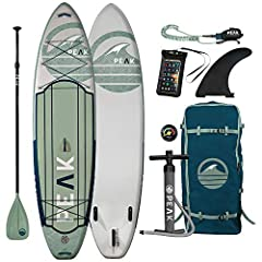 """The PEAK 11' Expedition Inflatable Paddle Board is built tough from the highest quality military grade PVC and drop stitch material. The end result is a lighter, stiffer, more durable iSUP board without any extra weight. The 6"""" Thickness make..."""