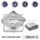 Windscreen4less 10' x 14' Multi-Purpose Waterproof Weather Proof Poly Tarp Cover Tent Shelter Camping Tarpaulin, Silver
