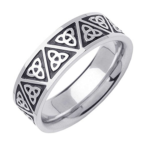 14K White Gold Celtic Trinity Knot Men's Comfort Fit Wedding Band (7mm) Size-17c1