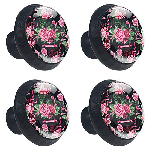 Idealiy Watercolor Gardenia Flower Door Drawer Pull Handle Furniture Decoration for Kitchen Cabinet Dressing Table
