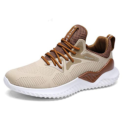 AAKOPE& Mens Shoes Man Sneakers Big Size Breathable Casual Shoes Men Lace Up Lightweight Summer Shoes Men Zapatilla Yellow 7.5