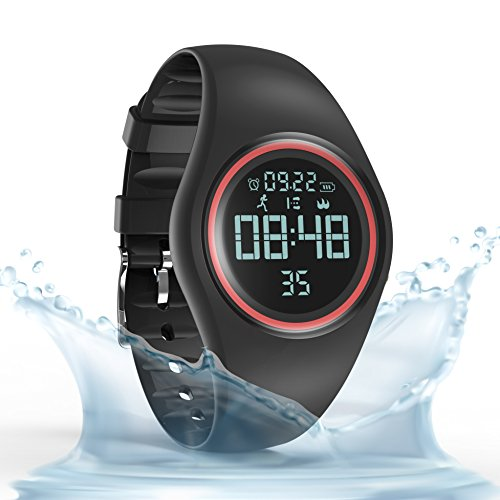 Synwoo Pedometer Smart Watch IP68 Waterproof Sport Wristwatch Fitness Tracker with Step Distance Calorie Alarm Clock and Timer Function for Kid Teenager and Adult (Black & Red)
