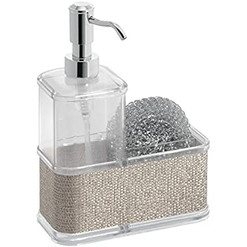 MDesign Soap Dispenser Pump With Sponge And Scrubber Caddy Organizer For Kitchen  Countertops   Metallico/Chrome