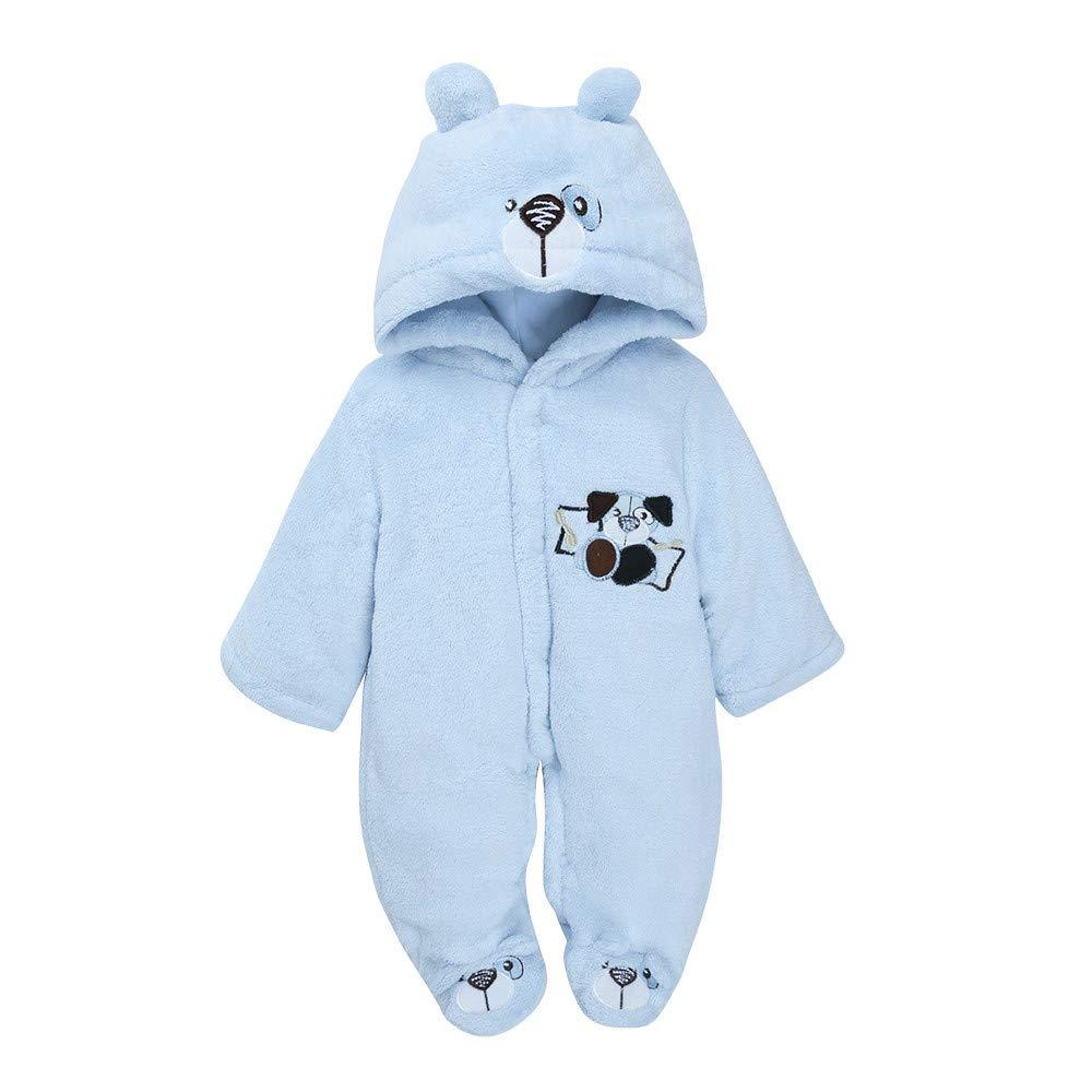 Sikye Toddler Baby Boys Girls Onesies Embroidery Carttoon Hooded Long Sleeve Warm Thick Romper Jumpsuit Footies Blue, 3-6 Months