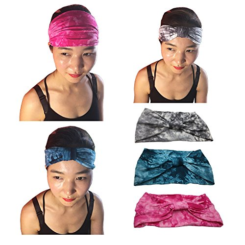 Womens Pirate Hair (YSJOY Tie Dye Hair Band Boho Hand Dyed Head Band Wide Cotton Stretch Seamless Headband Elastic Reversible Turban Headband for Sports Yoga and Function)