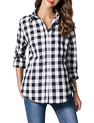 GUANYY Women's Long Sleeve Casual Loose Classic Plaid Button Down Shirt (Black1, Small)