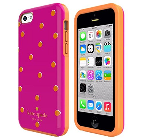 Kate Spade New York Dual Layer Phone Case - Iphone 5c - Pink with Orange Dots (5c Iphone Protective Case Orange)