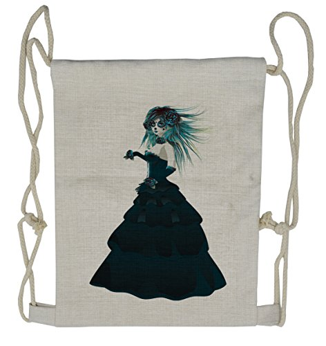 (Lunarable Girls Drawstring Backpack, Gothic Halloween Lady Zombie, Sackpack)