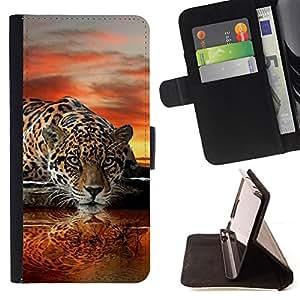 BullDog Case - FOR/Samsung Galaxy S4 Mini i9190 / - / leopard water mirror art sunset big cat /- Monedero de cuero de la PU Llevar cubierta de la caja con el ID Credit Card Slots Flip funda de cuer
