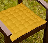 Lushomes Yellow Comfy Cotton Chair Cushion With 36 Knots & 4 Tie Backs
