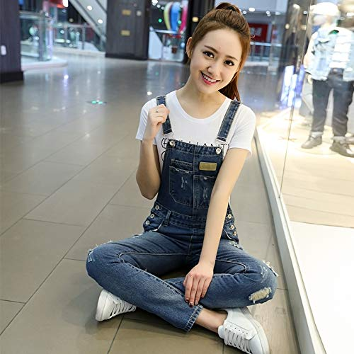 summer dress thin loose denim overalls women girls trousers by age preppy harness piece pants pantyhose (6082 blue (Preppy Denim)