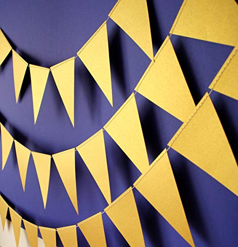 - Gold flag Garland, 10 feet, Gold triangle bunting
