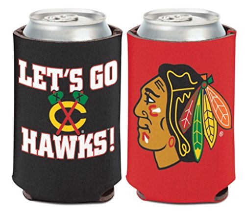 WinCraft NHL Chicago Blackhawks Logo/Go Hawks 1 Pack 12 oz. 2-Sided Can Cooler ()