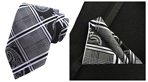 MOHSLEE Men Striped Paisley Silk Neck Tie Necktie Handkerchief Pocket Square Set