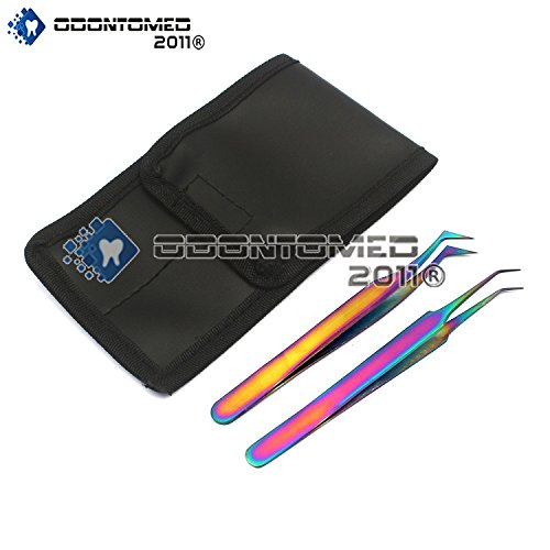 OdontoMed2011 Set Of 2 Stainless Steel Multi Titanium Rainbow Color Jeweler Style Tweezers #8a + #6 Fine Point Jewelry-making, Laboratory Work