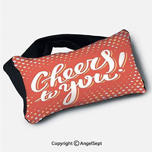 - Travel Pillow with Eyes Mask,Cheers to You Happy Message Text Polka Dots Retro Style Orange Light Yellow Baby Blue,5.9