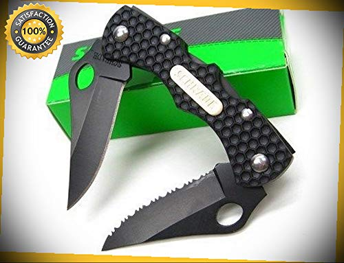 Black Mini Double Clip Point Folding Lockback Pocket Sharp Knife SCH004DLB perfect for outdoor camping -