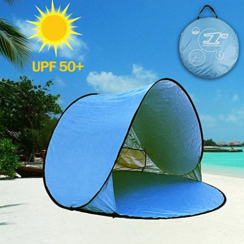 (aigo Easy Set-up Beach Tent Automatic Pop Up Instant Beach Shade Portable Outdoors Portable Family Sun Shelter with Carry Case (for 2-3persons))
