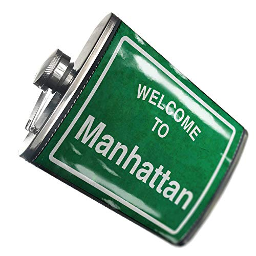 NEONBLOND Flask Green Road Sign Welcome To Manhattan Hip Flask PU Leather Stainless Steel Wrapped